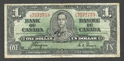 1937 $1.00 BC-21d F+ King George VI COYNE-Towers Bank of Canada OLD One Dollar