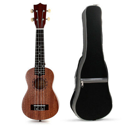 21inch Soprano Ukulele Ukelele Sapele 4String15Frets Hawaii Wood Instrument +Bag