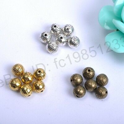 20Pcs Tibetan Silver Round Metal Carved Flower Spacer Beads Jewellry 7.5MM M567