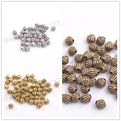 100Pcs Tibetan Silver Round Charms Spacer Beads Jewelry Findings 5mm M3138