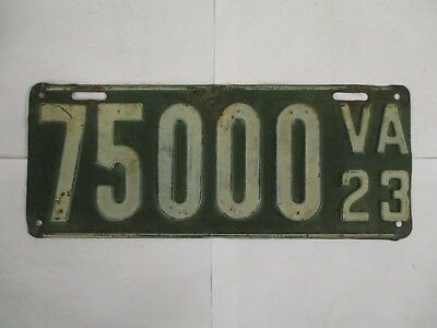 1923 Virginia #75000  License Plate Tag