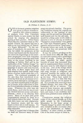 1898 Article, Old Plantation Hymns. Black. Negro. African-American. Civil War