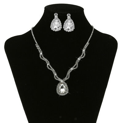 Elegant Crystal Diamante Wedding Bridal Necklace Earring Party Jewelry Set