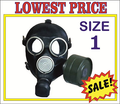 RARE! Military soviet russian gas mask GP-7. SIZE-1. FULL SET. BLACK