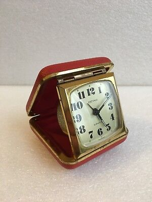Vintage Estyma 2 Jewels Travel Alarm Clock In Red Case Germany