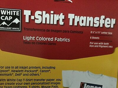 "T-Shirt Inkjet Iron On Heat Transfer paper 8.5"" x 11"" pack of 6 sheets"