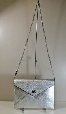 39d50d19246c Nwt Michael Kors Barbara Silver Leather Md Soft Envelope Clutch Purse  30S8Mb8C8K