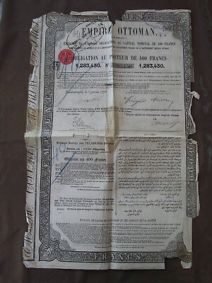 Empire Ottoman Obligation De 400 Francs Constantinople 1870
