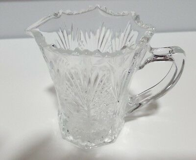 Retro vintage clear pressed glass milk creamer / jug  with free lid from a sugar