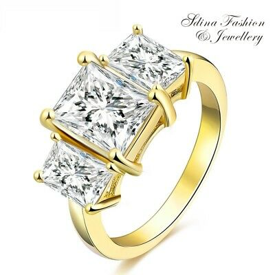 18K Yellow Gold Filled Simulated Diamond 3x Radiant Cut Wedding Engagement Ring