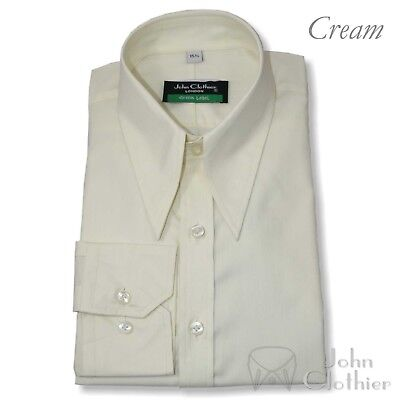 Mens Spear point collar shirt Cream 1930's 40's Vintage Classic fit 100% Cotton