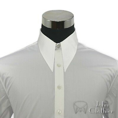 Mens White Vintage shirt 1930s 40s Spear-point collar Relax fit 100% Cotton Gent