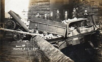 RP MOTOR ACCIDENT APL.19 1912  PHOTO MAA. Shows HUDDERSFIELD BRICK CO. VEHICLE.