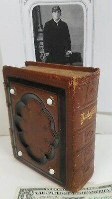 19TH Century Photograph Album Tintypes Photos Leather Embossed Gilded 25 Leaves