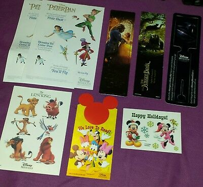 Disney movie club exclusive stickers,bookmarks,and tattoos