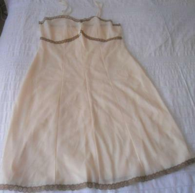 Vintage 1960S St Michael Pale Apricot Nylon Full Slip Coffee Lace Trim 16