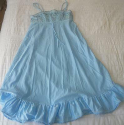 Nwot Early Vintage Target Blue Nylon Strappy Baby Doll Nightie 12