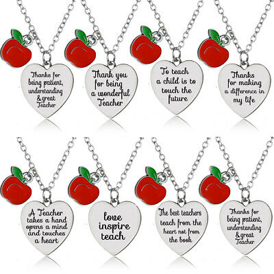 Charm Apple Love Heart Pendant Teacher Necklace Jewelry Gifts Thank You Teachers