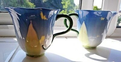 Pair Of Laura Ashley Hand Decorated Delicate Blue Flower Mugs