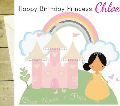 Personalised Princess Castle Happy Birthday Age Glitter Card White Greeting 1 2