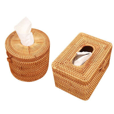 Rattan Braided Tissue Box Case Cover Napkin Holder Container Rectangle/Round