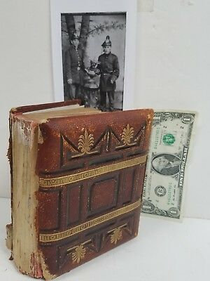 19TH Century Photograph Album Tintypes Photos Leather Embossed Gilded 24 Leaves