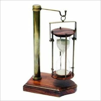 Antique Brass Hanging Sand Timer Hourglass With Wooden Base Collectible Item