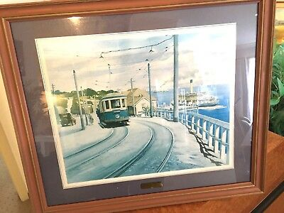 FRAMED WATERCOLOUR of CIRCA 1937 KIANDRA FERRY/CREMORNE TRAM/CREMORNE FERRY STOP