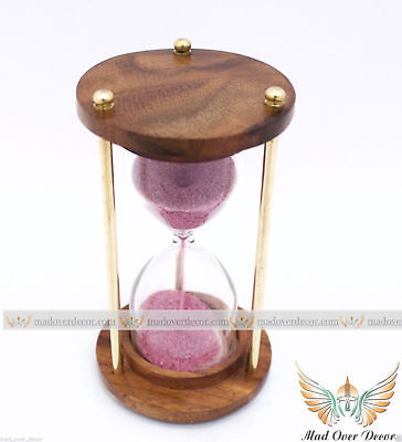 Wooden Brass Antique Hourglass Nautical Maritime Vintage Sand Timer Replica