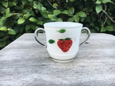 Vintage Bartlett Collins USA strawberry strawberries two handled sugar bowl