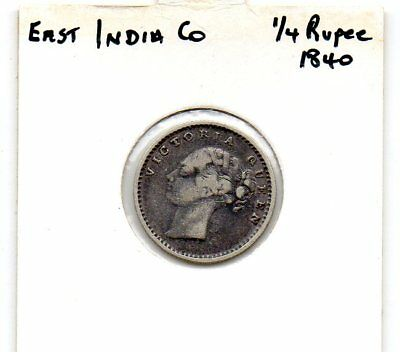 East India Co. QV 1840 1/4 rupee  VG