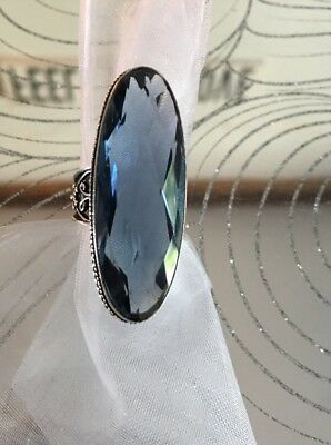 WOW! Boho Bali Iolite Solid Sterling Silver 925 Antique Art Deco Ring Sz 8