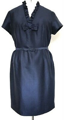 Vintage 1960s Navy Blue Ruffle & Bow Trim Belted Wool Blend Dress 18