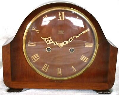 Vintage 1940-50s Smiths Enfield Wooden Striking Mantel Clock, Fully Restored.