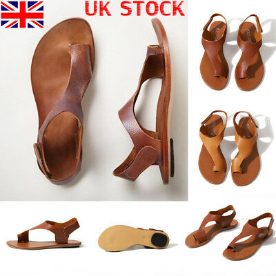 UK Women Beach Flats PU Leather Sandals Ladies Summer Casual Open Toe Shoes Size