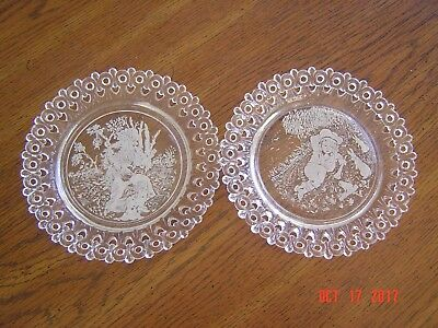 Antique Victorian Pressed Glass Egg and Dart Nursery Rhyme Plates