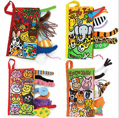 Animal Tails Cloth Book Baby Toy Cloth Development Learning Education Gift CA