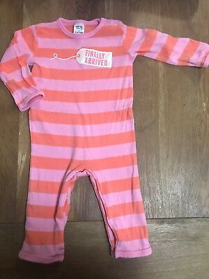 "Baby Girl Sleep Suit ""finally Arrived"" Size 0 Coverall Romper Pink Stripe"