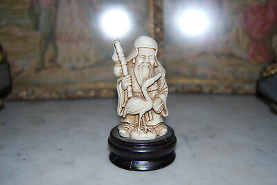 Wonderful Oriental Old Wise Men God Figurines Made Of Faux  Bone On Wood Base #1