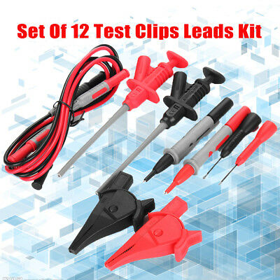 12pcs Test Clips Leads Kit Fluke Multimeter Heavy Duty Banana Tester Probe Set