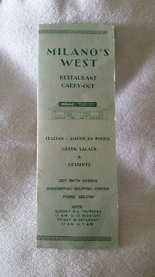Milano's West Restaurant and Carry-Out Menu Vintage Baltimore Maryland