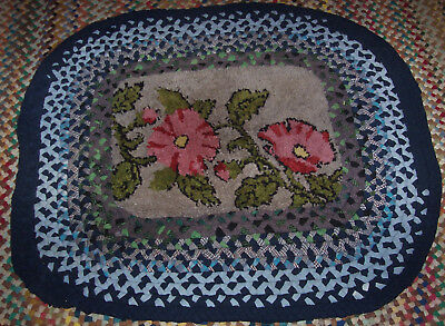 "Vintage Antique Hand Handmade Oval Wool Braided Hooked  Rug 30"" X 35"""