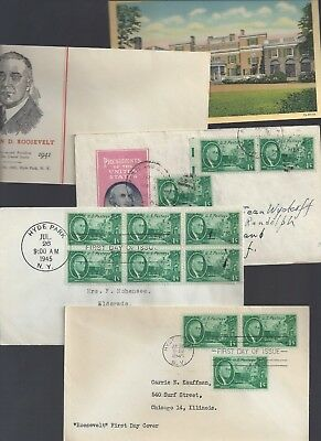 Hyde Park NY Roosevelt Home linen postcard circa 1940's + First Day Stamp cover