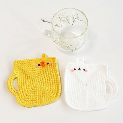 Molang cute Hand made Hand-knitted collaboration  coaster - molangcup piucup