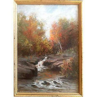 Antique New England Fall Landscape Oil Painting by Otis Weber American Art