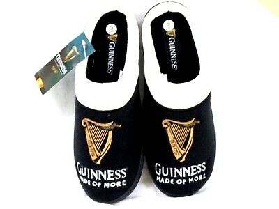 Mens New Guinness Official Mule Slippers Black Novelty Shoe Size 7/8,9/10,11/12