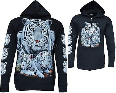 New Siberian White Bengal Tiger With Cubs Zip Zipped Hoodie Hoody Hooded Jacket