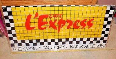 Vintage CAFE L'EXPRESS Large Bright Sign, THE CANDY FACTORY KNOXVILLE 1982, Wow!
