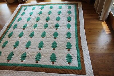 MINT Vintage 1940's GREEN, BROWN & WHITE TREE OF LIFE /PINE TREE QUILT Triple Bd