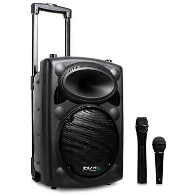 "Dj Pa Enceinte Amplifiee 20Cm 8"" Sono Disco Scene Mobile Usb Sd Mp3 2X Micro Vhf"
